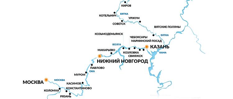 Карта 17ти дневного круиза на Вятку